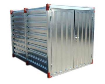 Storage container in kit form made of galvanized steel