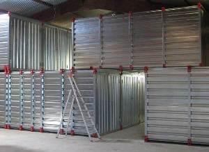 Boxes of self-storage piled on 2 floors