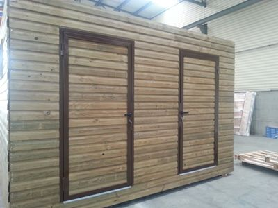 Technical room with a wooden cladding