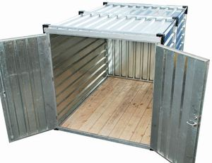 Storage container in kit form equipped with a opened double door