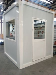 Glazed modular sentry box made of sandwich panels
